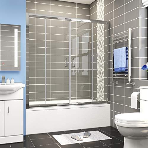 ELEGANT Sliding Bathtub Shower Door, 58.5 in.- 60 in. W x 62 in. H Tub Shower Door, 1/4 inch Clear Glass, 2 Sliding Panels and 2 Stationary Panels, Chrome Finish