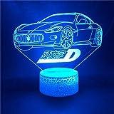 Coche .3D Luz De Noche De Ilusión Óptica, Lámpara De Escritorio De Mesa Táctil De 7 Colores Cambiantes Para Dormitorio De Niños, Cargador Usb