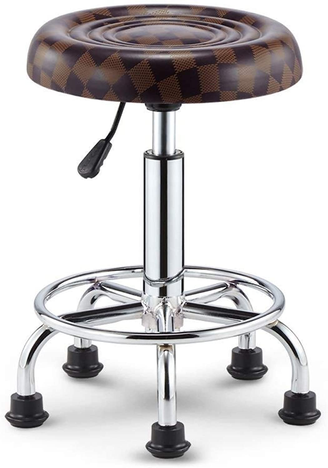Bar Stool with Adjustable Swivel Threaded Leather Dining Chair, Chrome Five-Legged Chassis Design (Size   Brown)