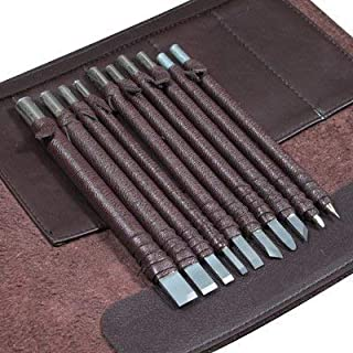Wood Chisels Knife Set Tungsten Steel Wood Carving Tool Kit 10pcs Sharp Knives Bonus a Extra Portable Compact Leather Roll...