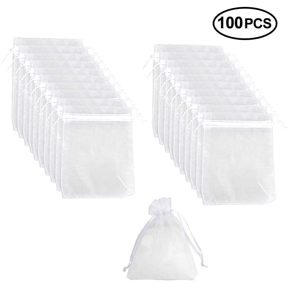 SuPoo 100 Pack Organza Gift Bags Drawstring Gift Bags White Mesh Bags Wedding Favor Bags Jewelry Candy Bags 4 X 6 Inch