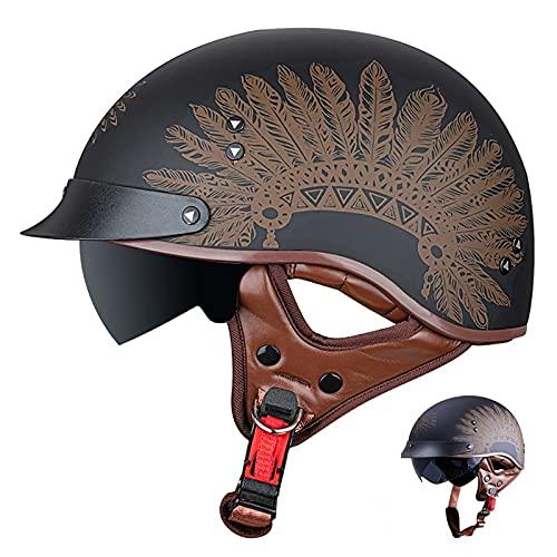 SPOTOR Casco de Moto Abierto Media Cara Casco Negro Mate Casco de Protección con Visera Solar Cruiser Chopper Scooter Casco Retro Motocicleta Half-Helmet 55~63cm