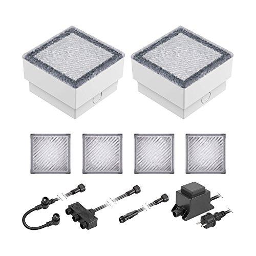 ledscom.de LED Pflaster-Stein Gorgon Boden-Einbauleuchte für außen, 10x10cm, 12V, warm-weiß 6er Set