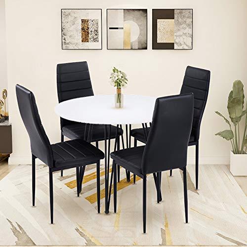 GOLDFAN Moderner Esstisch und 4 Stühle, runder MDF-Tisch und weicher Stoffstuhl mit Metallbeinen (weiß & schwarz, 4)