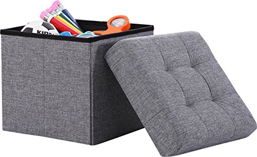 Ornavo Home Foldable Tufted Linen Storage Ottoman Square Cube Foot Rest Stool/Seat - 15' x 15' x 15' (Grey)