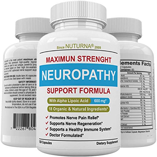 Neuropathy Support Supplement - Nerve Pain Relief with 600 mg Alpha Lipoic Acid Daily Dose - Diabetic Peripheral Neuropathy - Feet Hand Legs Toe Maximum Strength Nerve Renew Repair Formula, 120 Caps