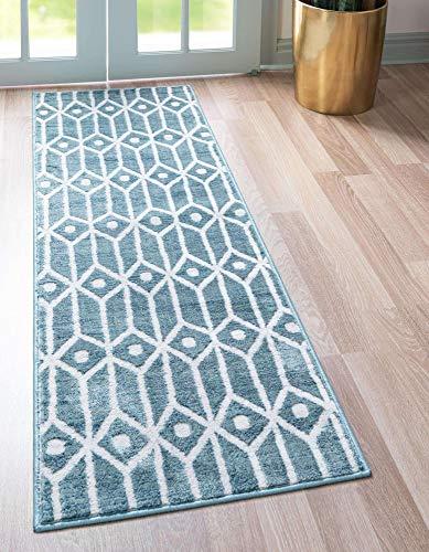 Unique Loom Matrix Trellis Collection Modern Geometric Lattice Blue/Ivory Runner Rug (2' 0 x 6' 0)