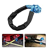 INVICTUS 1 Pack Synthetic Soft Shackle Blue 1/2 INCH X 20 INCH Maximum Break Strength 41,000lbs with Black Protective Sleeve Compatible with Sailing SUV ATV 4X4 Truck Jeep Recovery Climbing Towing