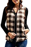 ReachMe Womens Buffalo Plaid Zip Up Vest with Zippered Pockets Winter Sleeveless Jacket Coat(Brown,2XL)