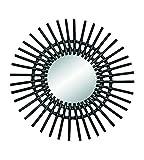 AC-Déco Miroir Soleil - D 58 cm - Rotin - Noir