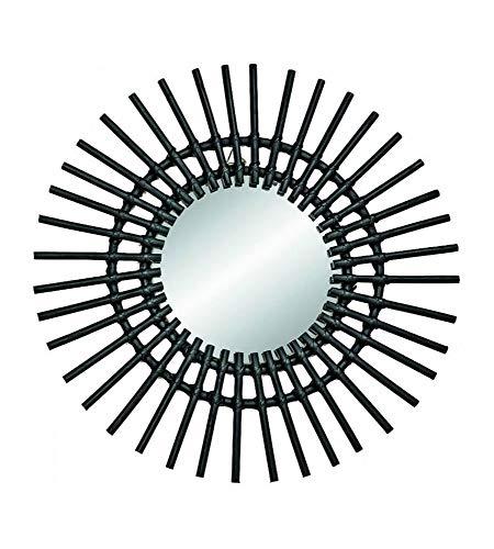 AC-Déco Espejo Sol D 58cm–Ratán–Negro