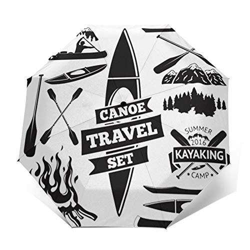 Paraguas Plegable Automático Impermeable Barco de Canoa Kayak, Paraguas De Viaje Compacto a Prueba De Viento, Folding Umbrella, Dosel Reforzado, Mango Ergonómico