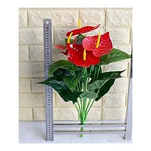EMPEDOS Fake Flowers -Anthurium Flowers Indoor Fake Plants Balcony Desktop Artificial Flowers Bonsai Green Pot Plant Leaf 1 Bunch Green Potted Plant (Color : 1bunch)