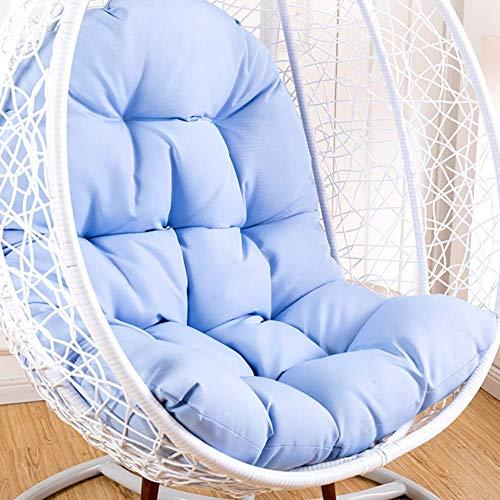 WGG Hanging Chair Cushion, wieg schommelstoel kussen niet-slip mand rieten stoel pads volwassen schommelen binnen balkon pad zonder standaard Blauw