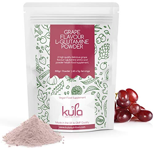 Kula Nutrition Pure L Glutamine Powder - 300g (60 Servings) - Amino Acid Powder, Protein Building Blocks - Supplement for Muscle Repair & Recovery & Restore Gut Health (Grape)