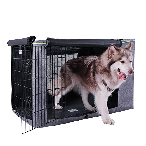 Petsfit 42' L x 28' W x 30' H Extra Side Door Polyester Crate Cover, for 5000 Wire Crate, Gray