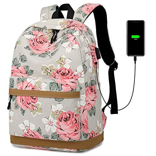JANSBEN Canvas Rucksack Schulrucksack Laptop Rucksack Damen Mädchen Teenager mit USB Ladeanschluss Daypacks 14 Zoll Laptop für Reisen Schule Arbeit (Grey)