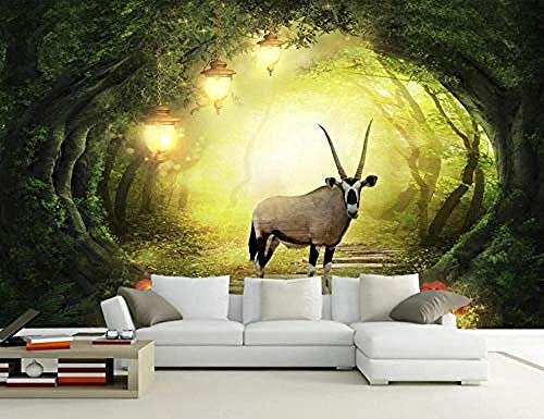 Forest Elk Light Jungle for Walls Murals Wallpaper Custom 3D Wallpaper Paste Living Room The Wall for Bedroom Mural border-350cm×256cm