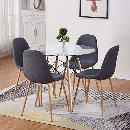 GOLDFAN Dining Table and Chair Set 4 Modern Round Tempered Glass Kitchen Table and Grey Fabric Chairs with Solid Wood Legs Dining Room Set