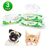 PUPTECK Pet Grooming Wipes for Dogs & Cats - 3 Pack Hypoallergenic Puppy Cleaning Wipes for Ears Eyes Face Butt Paw Body, Fragrance - Free, 80 Counts per Pack