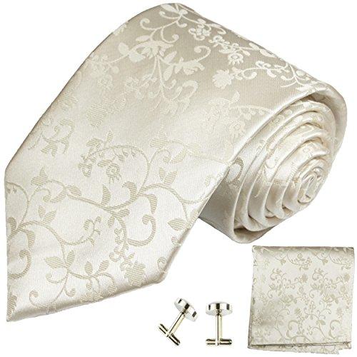 Paul Malone Krawatte schmal elfenbein ivory Set 3tlg - 100% Seide - Schmale Krawatte 6cm mit Einstecktuch und Manschettenknöpfe