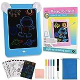 Goldge Pizarra LED para dibujar para niños, 3D Tablet Pizarra con 4 bolígrafos y 10 plantillas, Reutilizable Mesa de dibujo para dibujo, Creación, Scrabble, Arte, Escritura