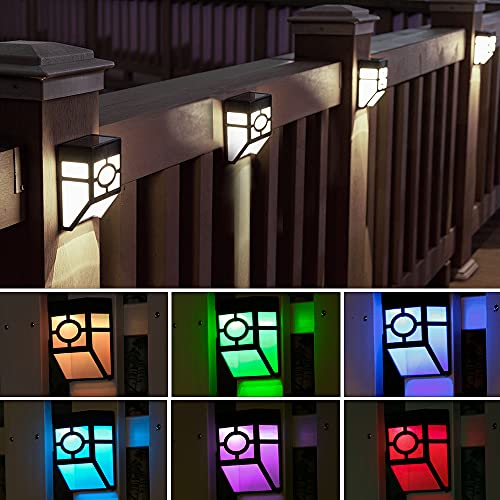 Otdair Solar Fence Lights Outdoor, 8 Pcs LED Fence Solar Lights Waterproof, Garden Solar Deck Lights for Post, Patio, Step, Stair, Pathway and Yard, White