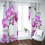 BATOHOME Vorhang Kurz Outdoor, Deko Vorhang Kurz Küche Orchidee Vorhang Kälteschutz, Gardinen Für Jungszimmer (2PCS x H43 x B96)
