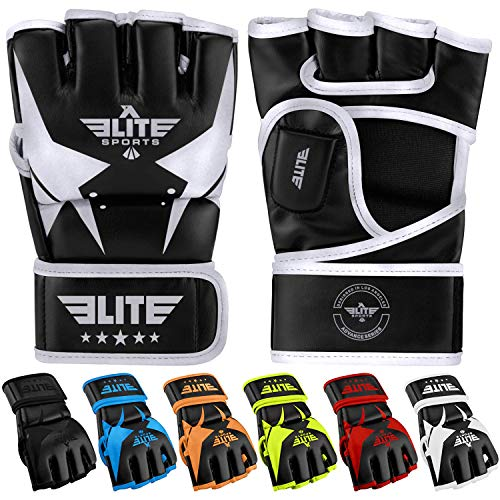 MMA UFC Gloves for Men, Women, and Kids, Elite Sports Best Mixed Martial Arts Sparring Training Grappling Fighting Gloves (Silver/Black, Large/X-Large)
