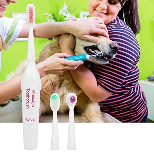Pssopp Elektrisk tandborste för husdjur, hund, katt, tänder, rengöringsverktyg professionell, elektrisk hundtandborste med två mjuka borsthuvuden (röd)