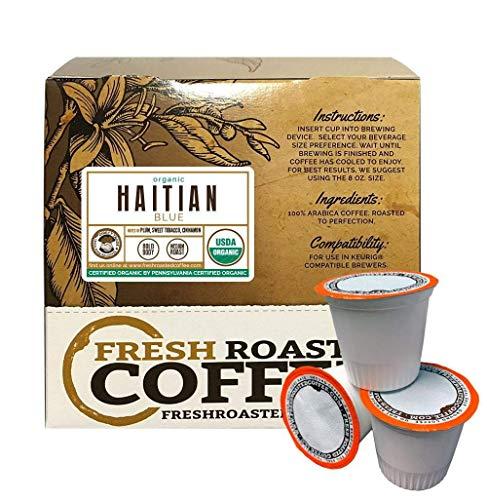 Fresh Roasted Coffee LLC, Organic Haitian Blue Coffee Pods, Medium Roast, Single Origin, Direct Trade, USDA Organic, Capsules Compatible with 1.0 & 2.0 Single-Serve Brewers, 18 Count