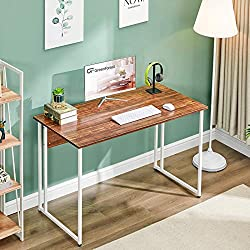GreenForest Small Computer Desk,39 Writing Desk for Small Space,Bedroom Desk for Teen Girl, Modern Simple Study Table with White Metal Legs, Walnut