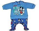 Baby Strampler Disney Mickey Mouse Langarm Babystrampler Junge Schlafanzug Blau Einteiler Top Babykleidung 56 62 68 74 Overall Jung, Größe: 74