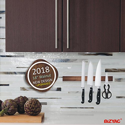 "Magnetic Knife Strip 14"" - Premium Walnut - Self Adhesive 3M System - Easy Install - No Holes Drilling - Holds All Knives - Very Strong Magnetism - ( 2018 UPGRADED VERSION )"