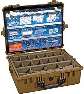 Pelican Products 1600-005-190 1600EMS Large Case with Multi-Layer Lid Organizer/Padded Dividers (Desert Tan)