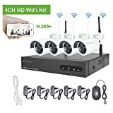 Kit de Vigilancia de Video WiFi Aottom 1080P 4CH Kit de Seguridad inalámbrica 4 Camaras, Sistemas Cámaras de Seguridad, Visión Nocturna, Detección Movimiento, Email Alarmas, App Android/iOS, sin HDD