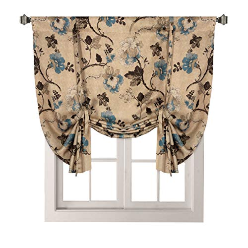 H.VERSAILTEX Thermal Insulated Blackout Window Drapes Adjustable Tie Up Shade Rod Pocket Curtain for Kitchen - 42 Wide by 63 Long - Vintage Floral in Brown/Blue (1 Panel )