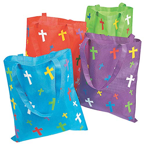 Fun Express Religious Polypropylene Tote Bags with Crosses | 12 Count | Great for Reusable Grocery Shopping Bag, Event Giveaways