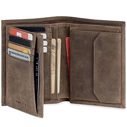 KORUTA® Leder Geldbörse Herren mit RFID Schutz I Portemonnaie Groß mit Münzfach I 13 Fächer I Echtleder Geldbeutel für Männer I Brieftasche Wallet Portmonee braun