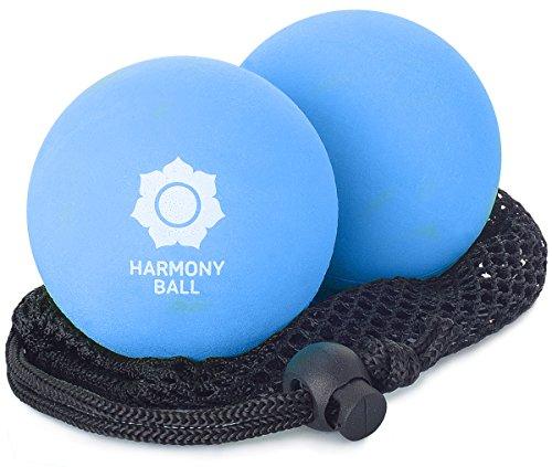 Palla da massaggio di gomma naturale, set di 2, rete inclusa - 2 x palle da massaggio, 7,2 cm ciascuna, piacevolmente elastiche, perfette per massaggi miofasciali e automassaggi