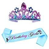 Conjunto de corona de sirena,corona de princesa para vestir,palabra morada con purpurina,para niñas,mujeres,suministros para fiestas de cumpleaños decoraciones(Púrpura)