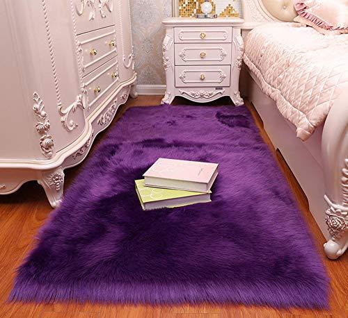 Charm4you En Colores Pastel Alfombra habitación Dormitorio,Alfombra de Dormitorio de casa de Sala de Estar de imitación de Lana-Morado A_30 * 30cm,alfombras pie de Cama Lavables Tela