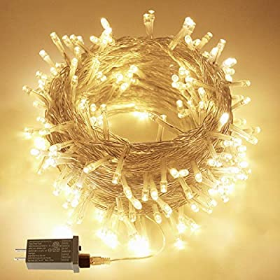95FT 240LED Christmas String Lights, Waterproof String Lights, Indoor/Outdoor Christmas Lights, 8 Mode Clear Wire Mini Lights for Christmas Trees Wedding Festival Party Decoration (Warm White)