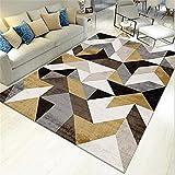 AU-SHTANG alfombras Grandes Patrón de Diamante, Alfombra Amarilla Alfombra de Yoga...