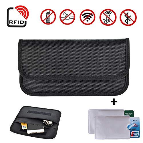 Newseego RFID Signal Blocking Bag | 2X Fundas de Tarjeta de crédito RFID Gratis | Anti Theft Faraday Bag for Car Key Fob & Bloqueo del teléfono Celular de Bolsillo, RFID Signal Shielding Pouch(Negro)