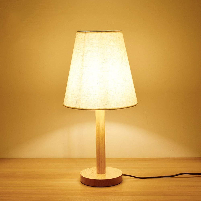 WngLei Tischlampe Massivholz Schreibtisch Licht Schlafzimmer Nachttischlampe Moderne Taschenlampe Einfache Tuch Lampe Wohnzimmer Dekorative Lichter (Farbe   A)