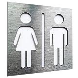 Aluminium Male and Female Bathroom door sign - Restroom plaque - WC - Toilet - Men and women - Signo de puerta de baño masculino y femenino - Area de aseo- Men and women - indoor & outdoor