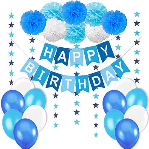 """Jonami Decorazione Compleanno Bimbo. Bandierine di Buon Compleanno """"Happy Birthday"""" + Set di 8 Pompon a Fiore + 2 Festoni a Stelle di 3 m + 12 Palloncini Perlati Blu Bianco Turchese"""