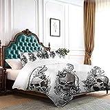 Hiiiman - Funda de edredón y funda de almohada inspirada en un ángel con tinta de tatuaje, lápiz de tinta y calavera, tamaño Queen, 228 x 228 cm, incluye 2 fundas de almohada