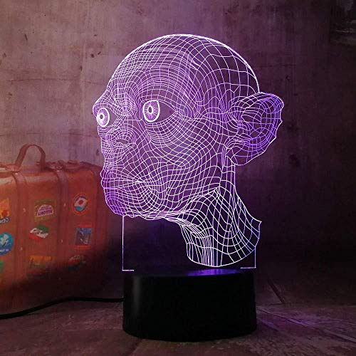 Lámpara de luz nocturna 3D The Rings Gollum 3D LED Luz de noche Novedad 7 colores Control remoto USB Multicolor Lámpara de escritorio para el hogar Regalo